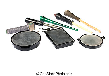 collection of slate calls, devices for simulating female...