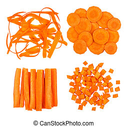 collection of slices of carrot isolated on white background