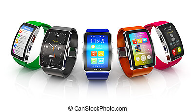 Creative business mobility and modern mobile wearable device technology concept: collection of color digital smart watches or clocks with colorful screen interface isolated on white background with reflection effect