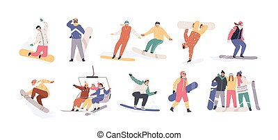 Collection of snowboarders isolated on white background. Extreme winter mountain activity. Set of people wearing outfit riding snowboard. Vector illustration in flat cartoon style