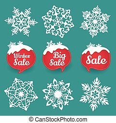 Collection of snowflakes and sale lables. Winter discount -...