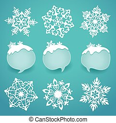 Collection of snowflakes and winter lables with space for...