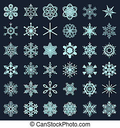 Collection of snowflakes on a dark background. Snowflake...