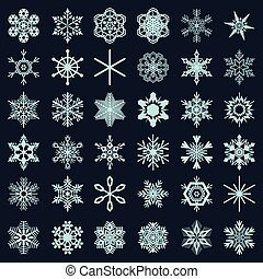 Collection of snowflakes on a dark background. Snowflake vector set