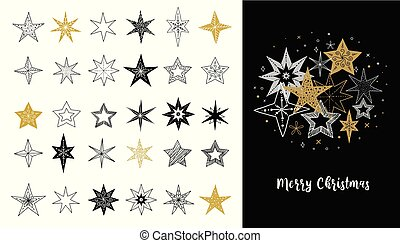 Collection of snowflakes, stars, Christmas decorations, hand drawn illustrations
