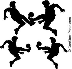 Collection of soccer players with a jump ball, silhouette on white background,