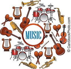 Collection of sound equipment or music instruments