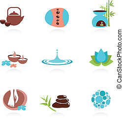 Collection of spa and Zen icons and elements, vector ...