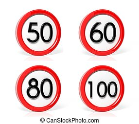 Collection of speed limit signs isolated on white background