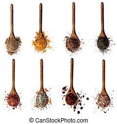 Collection of Spices in Wooden Spoons