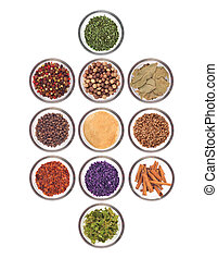 collection of spices on a white background