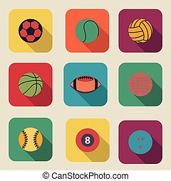 Collection of sport ball icon flat design vector illustration
