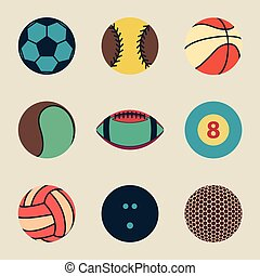 Collection of sport ball icon vintage vector illustration