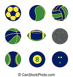 Collection of sport ball icon with Brazil flag color concept vector illustration