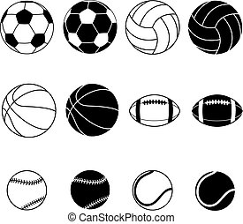 Collection Of Sport Balls - Collection Of Black And White...