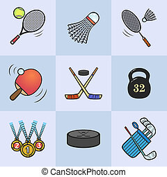 Collection of sport icons. Colored vector sport equipment....