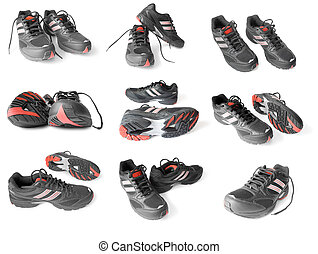 collection of sport shoes
