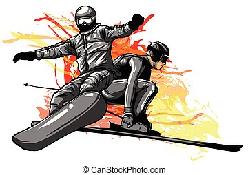 collection of sport snowboard, skiers vector illustration