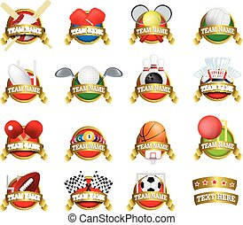 collection of sports badges, shields, logo or award marks -...