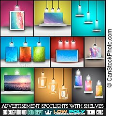 Collection of spotlights with panels with Low Poly arts for...