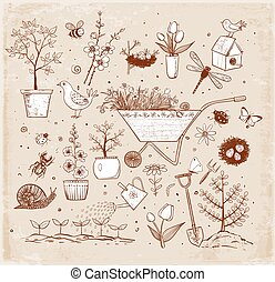 Collection of spring doodle sketch elements