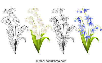 Collection of spring flowers isolated on white background