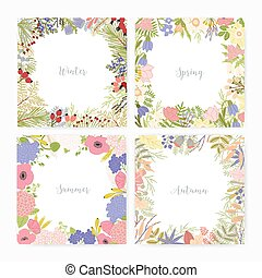 Collection of square card templates with various season names and frames made of beautiful wild blooming flowers, flowering plants, leaves, berries. Colorful seasonal vector illustration.