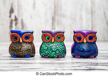 Collection of Statuettes of Colorful Owls - Collection of...