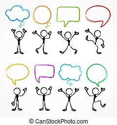 Collection of stick figures with speech bubbles