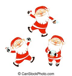 Collection of stickers with Christmas Santa Claus