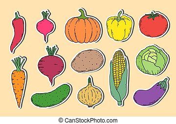 stickers with hand drawn vegetables