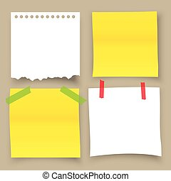 Collection of sticky note with adhesive tape isolated on isolated background