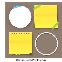 Collection of sticky note with adhesive tape isolated on isolated background.