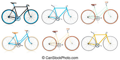 Collection of stylish colorful hipsters bicycle isolated on white