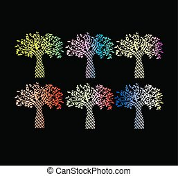 Collection of stylish gradient for print the tree of life.