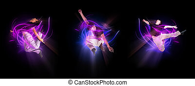collection of stylish modern ballet dancer jumping on black