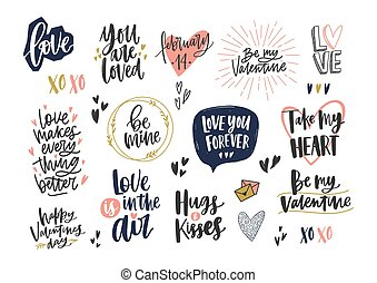 Collection of stylish Valentine s day letterings with...