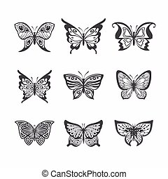 Collection of stylized butterflies.