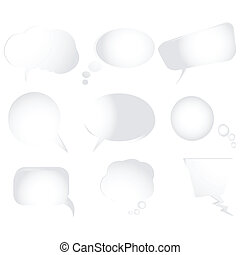 Collection of stylized text bubbles, vector isolated objects on white, more bubbles in my gallery