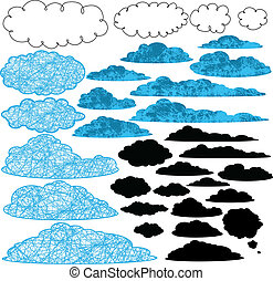 clouds - collection of stylized vector clouds.