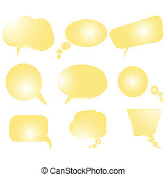Collection of stylized yellow text bubbles, isolated objects on white, art illustration, more bubbles in my gallery