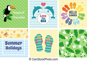 Collection of summer decorative cards. Vector illustration.