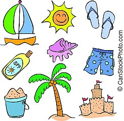 Collection of summer holiday doodle style