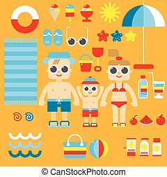 Collection of summer icons in flat design vector.