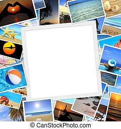 Collection of summer vacation photos with copy space