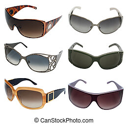 sunglasses  - collection of sunglasses isolated on white