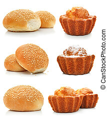 collection of sweet cakes and rolls isolated