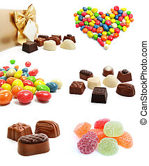 collection of sweet chocolate candies isolated