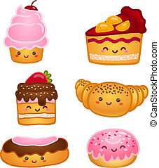 Collection of sweet pastries croissant cake and pie isolated...