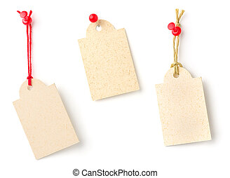 Collection of tags on a white background